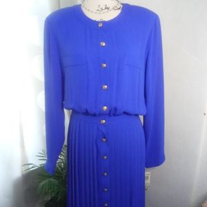 Deadstock JG Hook Blue Pleated Midi Dress 14 NWT